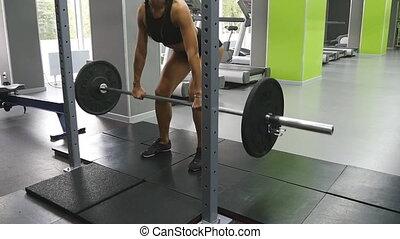 lourd, il, barre disques, femme, training., girl, vêtements de sport, parfait, lent, jeune, gym., ascenseurs, santé, corps, femme, floor., chutes, fort, pratiquer, deadlift, mouvement, fitness, jets, club.