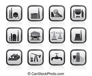 lourd, industrie, icônes
