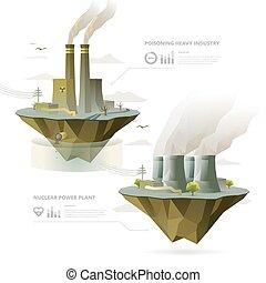 lourd, industrie, usine, et, centrale nucléaire, à, infographic