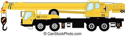 lourd, isolé, arrière-plan., vecteur, camion, crane., blanc