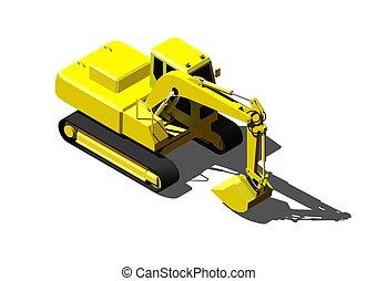 lourd, isométrique, excavateur, moderne, isolé, illustration, construction, white., véhicule