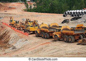 lourd, la terre, construction, véhicules mouvement