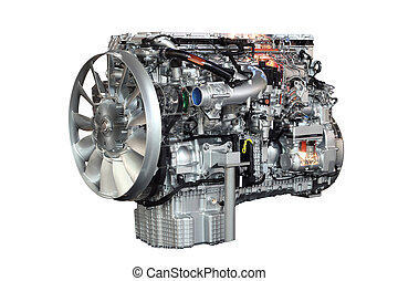 lourd, moteur, isolé, camion, fond, blanc