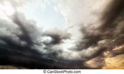 lourd, nuages, pluie, storm., time-lapse., avant