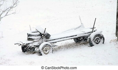 lourd, paysage., hiver, snowfall.