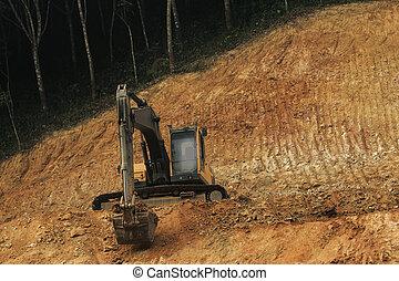 lourd, pente, fonctionnement, machine, construction, colline, route