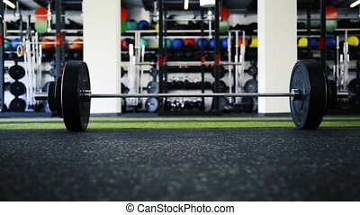 lourd, plancher, moderne, métal, barre disques, gym., vergé