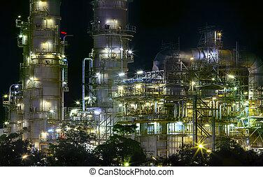 lourd, plante, huile, propriété, industrie, usage, haut, raffinerie, fin, vue