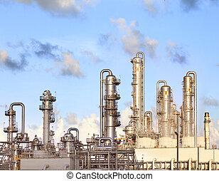 lourd, plante, pétrochimique, propriété, industrie, raffinerie