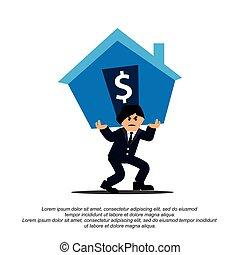 lourd, plat, conceptions, house., dette portant, homme