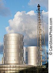 lourd, raffinerie, plante, usine, ind