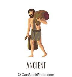 lourd, sacs, ancien, homme préhistorique