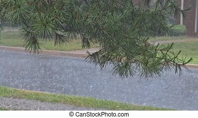lourd, saison, asphalte, inondations, flaque, dû, eau pluie, mouillé, tomber, gouttes, inondation, route