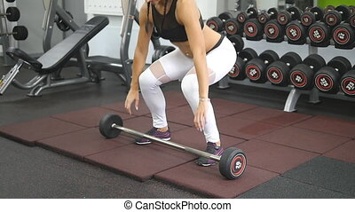 lourd, snatches, poids, femme, girl, vêtements de sport, parfait, lent, -, jeune, gym., santé, exercice, corps, femme, club., fort, levage, formation, pratiquer, deadlift, mouvement, culturiste, barbell.