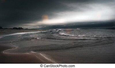 lourd, storm., nuages, océan