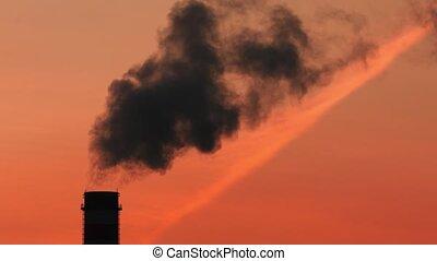 lourd, sunset., pétrochimique, usine, industrie