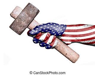 lourd, uni, main, etats, drapeau, maniement, marteau