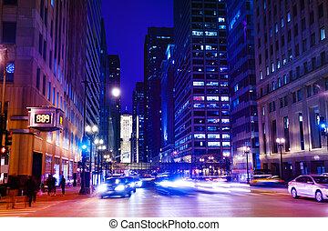 lourd, usa, chicago, trafic, nuit, autoroute