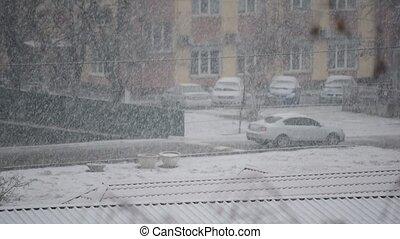 lourd, ville, tomber, neige