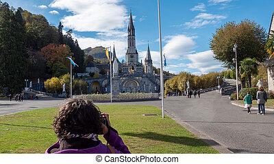 lourdes, (france), cathedral-sanctuary, 光景