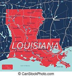 Lousiana state detailed editable map