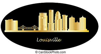 lousville skyline with landmarks and bridge