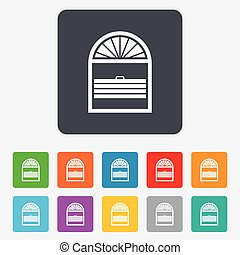 Louvers plisse sign icon. Window blinds or jalousie symbol. Rounded squares 11 buttons. Vector