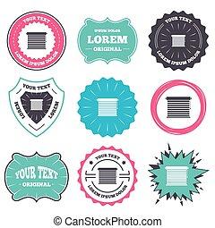 louvers, zeichen, icon., fenster, feste jalousie, oder, jalousie.