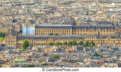 Louvre Museum aerial panorama - Aerial panorama of the long...