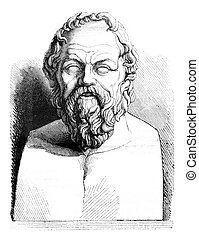 Louvre museum, Ancient bust of Socrates, vintage engraving....