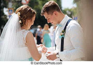lovász, hivatal, próbál, gyűrű, menyasszony, feltétel, ...