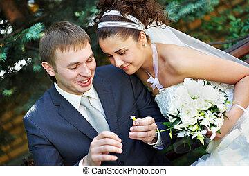 lovász, liget, jár, menyasszony, esküvő, boldog