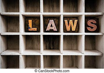 lov, begreb, af træ, letterpress, type, ind, skuffe