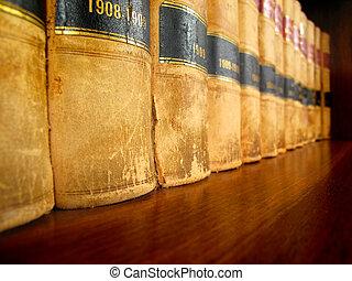 lov bog, på, hylde