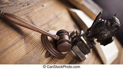 lov, tema, hammeren, i, dommer, træagtig gavel