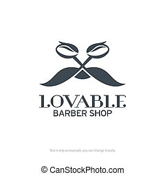 Lovable barber shop logo design. Vector illustration.