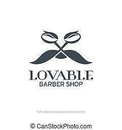 Lovable barber shop logo design. Vector illustration.