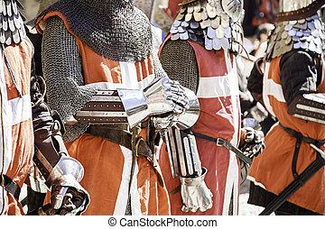 lovag, fém, középkori, kesztyű