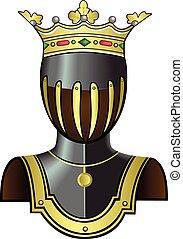 lovag, fej, helmet., középkori