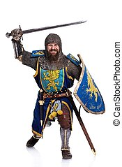 lovag, támad, position., középkori