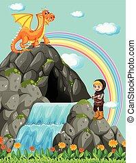 lovag, vízesés, sárkány