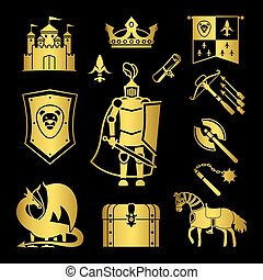 lovagi rang, alatt, középkor, ikonok, vektor, ábra