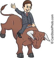 lovaglás, businessman 2, bika