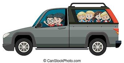 lovaglás, csereüzlet, gyerekek, kisteherautó