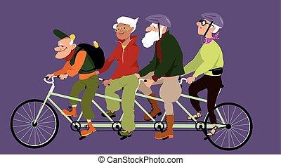 lovaglás, egy, tandem bicikli
