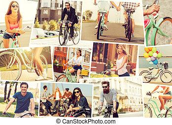 lovaglás, emberek, bicycles., fiatal, kollázs, bicycles, érzelmek, pozitív, kifejez, különböző, időz