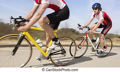 lovaglás, kerékpárosok, út, ország