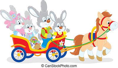 lovaglás, nyuszi, póni, húsvét