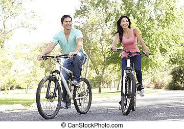 lovaglás, párosít, bicikli, liget, fiatal