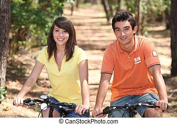 lovagol, bicikli, párosít, tizenéves